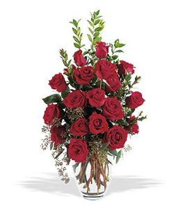 Red Roses in Tall Vase