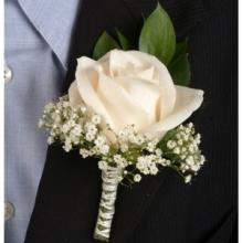 Classic Rose White Boutonniere